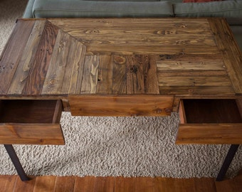 Pallet Wood Desk with Metal Legs and Two Drawers