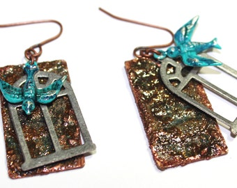 Copper and Silver Metal Window with Birds - blue, brown, teal, grey,dangle, and sparkle