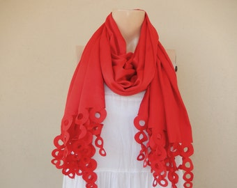 Red Infinity Scarf/Spring/Fall /Winter Scarf