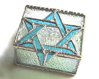 """Stained Glass Jewelry Box - Jewish Design - Aqua Star of David - Bat Mitzvah Gift Idea - Jewish Gift - Glass Box - 3"""" x 3 1/2"""" - 0042-C-AQ"""