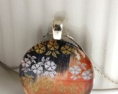 ON SALE Japanese Abstract Print Glass Tile Pendant Necklace