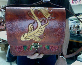Purse / Bag / Women / Messenger Bag / Woman / Hand Made / Hand Carved and Tooled / Leather / Koi Fish / Flowers / Custom /Hand Crafted / Bag