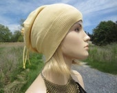 Yellow Slouch Beanie Lightweight Summer Hat Slouchy Womens Tam Baggy Tie Back Top Hats A1299