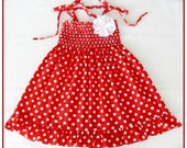Red and white polka, dot dress for little girls, Size 3T- 4T(Available in size 6 m. to 6 y.) Frilly dress, Girls halter dress