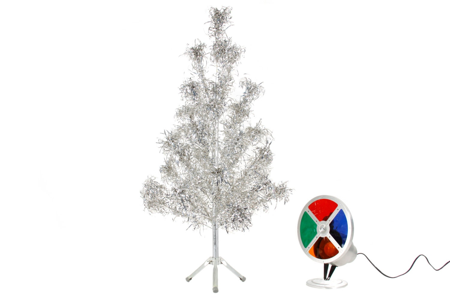 4 Ft Aluminum Tree With Color Wheel Vintage Christmas