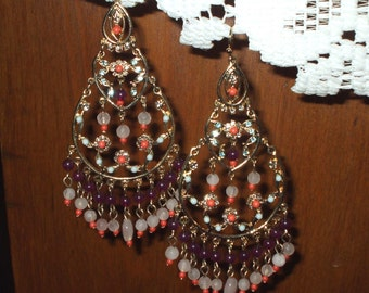 Neiman Marcus Chandelier Earrings Crystal Coral Orange & Purple Amethyst Dangle Vintage Boho Tassel Gypsy Gold Tone Christmas Gift