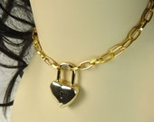 "Lock necklace Gold heart mature bdsm ""Lock and key"""