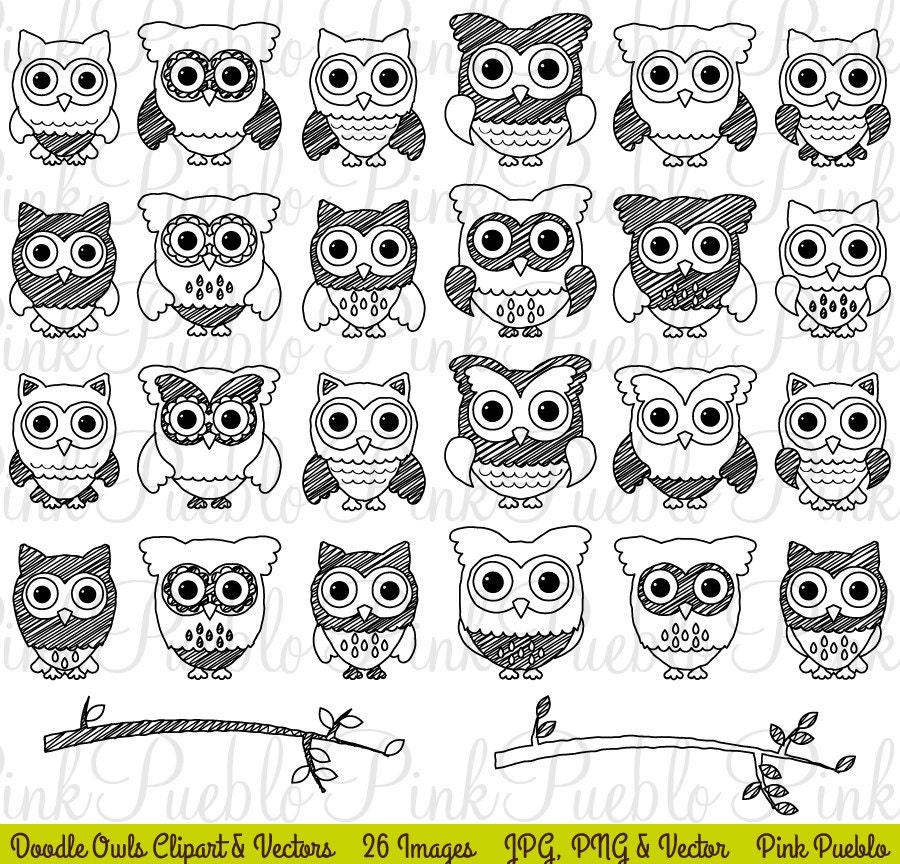 Cute Doodle Owl Clipart Clip Art Black and White Doodle Owl
