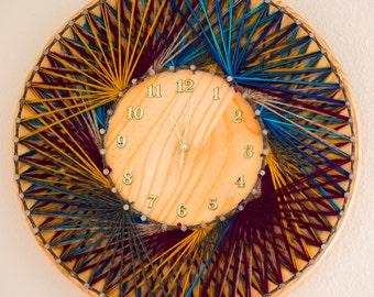 String Art Clock / Rustic Wall Clock / Bohemian Wall Clock / Rustic String Art Wall Clock / String and Nail Art / Rustic Wooden Wall Clock
