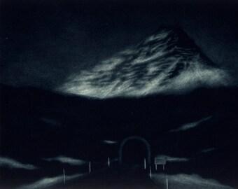 Mountain Tunnel - Original Mezzotint