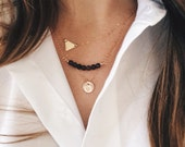Layering Necklaces Set of 3 - Sterling Silver or 14k Gold Fill, Petite Disc, Petite Triangle, Gemstone Bar, Minimalist Geometric Jewelry