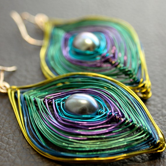 Sassy Purple, Green and Blue Peacock Earrings Small or Large Free US Shipping