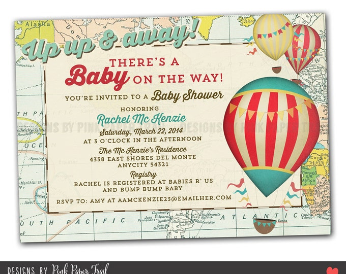 Vintage Hot Air Balloon Party Invitation, I will customize for you, Print your own