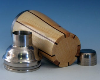 Alder with Eastern Red Cedar Accents Wooden Cocktail or Juice Shaker with Stainless Steel Insert, Cocktail Shaker Lid with Strainer, and Cap
