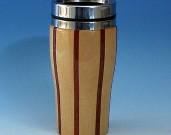 Birch with Jatoba Accents Wooden Travel Mug with Stainless Steel Insert and Sliding Sipper Top