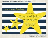PRINTABLE - Starfish with Nautical Stripes Birthday Invitation - Available in any color