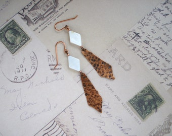 Mother of Pearl and Copper Sheet Metal Earrings