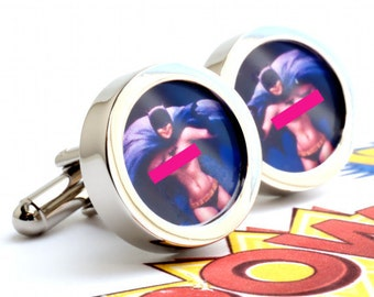 Nude Pin Up Batgirl Cuff Links from 1950s Vintage Mature Calendars Pinup