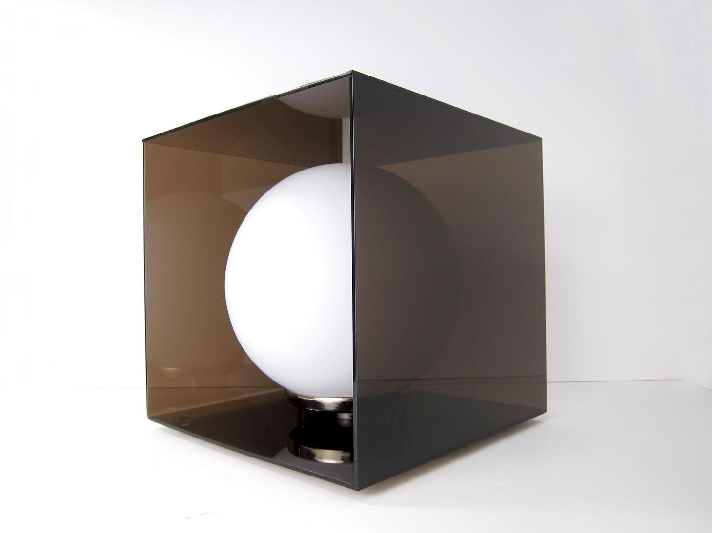 Laurel Lucite Cube Glass Globe Lamp Mid Century Modern Mod