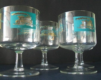 Modern Barware Sherry Glasses Aqua Gold Steamboat Paddleboat Design Mid Century