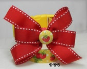 Dog Collar Yellow White Dots Strawberries Green Leaves Red Ribbon bow white edge Adjustable Dogs Collars D Ring Choose Size Accessory Pets