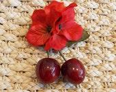 Tiki PinUp Cherries, Rockabilly Cherry and Tropical Red Hydrangea Hawaiian  Flower Hair Clip by Viva Dulce Marina