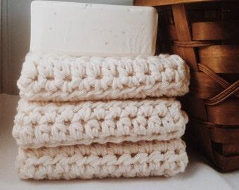 Set of 3: Premium Handmade Cotton Washcloths - Cream