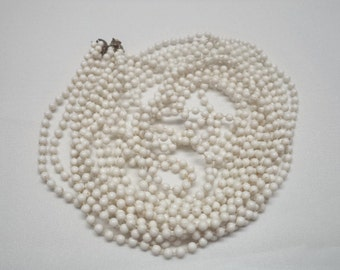 """Vintage 1950's 3 Strand Small White Lucite Flapper Style 30"""" Strand Necklace"""
