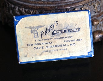 Vintage Pill Box Drug Store For Prescriptions 1948