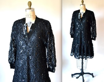 80s Vintage Black Lace and Sequin Dress by Damianou, SIze Medium Large// 80s does 20s Flapper Dress Size Large Black Party Dress Size Large