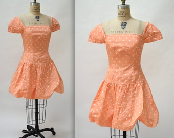 Vintage 80s Prom Dress Size Medium In Peach with Polka Dots// 80s Pink Party Dress Size Medium