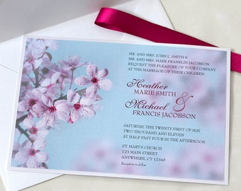 Cherry Blossom Wedding Invitation, Pink and Blue, SAMPLE