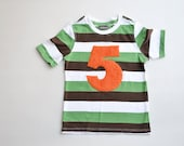 Size 5T 5 Boys Number Five Shirt, 5th Birthday Shirt, Fifth Birthday Shirt, Small Defect Spot Sale, Orange Green Brown Stripe, Ready to Ship