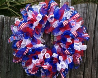 Red White and Blue Wreath, Wreath, 4th of July Decor, 4th of July Wreath, Patriotic Wreath, Patriotic Decor