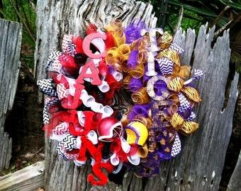 LSU Wreath, ULL Wreath, Ragin Cajun Wreath, Wreath, Purple and Gold Wreath, Ragin Cajun Decor
