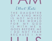 I Am His Daughter I Am His Sign Daughter of a King Personalized Scripture Print Baptism Christening Gift Nursery Girl Decor - 11x14 Print