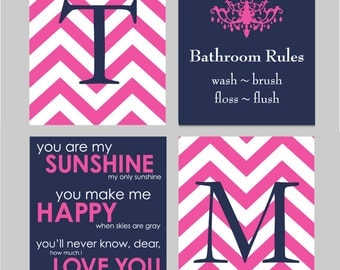 Kids Bathroom Wall Art, Girls Bathroom Art Prints, Kids Bathroom Decor, Bathroom Rules Sign,  Set of four 8x10s You Choose Colors