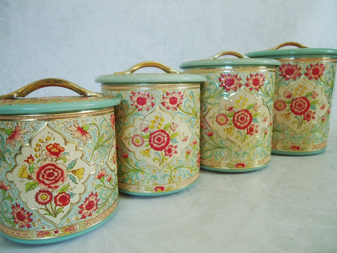 Vintage Kitchen Tin Canister Set made in by SwirlingOrange11