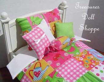 Doll Bedding 5 Pc Set for 18 Inch Dolls - Summer Fun