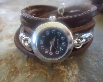 WATCH & BROWN LEATHER wrap clock and  Pendant (1635)