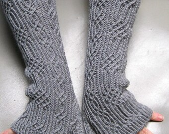 Knit Mitt Pattern:  Elger Long Fingerless Mitt Knitting Pattern