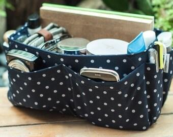 Medium Purse ORGANIZER Insert Bag Organizer / Blue White Dots / Medium 22x8cm