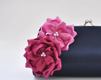 Midnight Blue and Shades of Orchids Bridesmaid clutch / Bridal Clutch / Prom clutch
