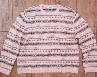 Ladies Fairisle Style Jumper Retro Vintage pink pattern sweater pullover XL