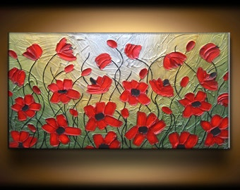 Big Large Abstract Texture Painting Original Custom Texture Carved Sculpture Poppies Floral Red Green Gold Oil Je Hlobik