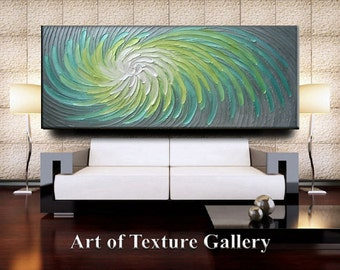 Custom 70 x 30 HUGE Original Abstract Heavy Impasto Texture Aqua Gray Green Silver Modern Metallics Oil Painting by Je Hlobik