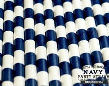 NAVY BLUE  SAILOR Striped Eco-friendly Paper Party Straws & Digital Flags - - -Made in the U S A - - -Fda approved - - - Ships within 1 Day