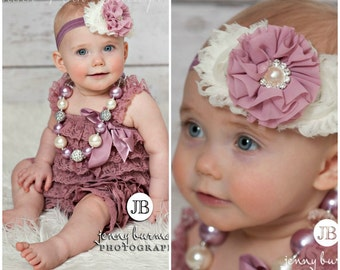 Petti lace romper and headband SET, petti romper, mauve headband, romper, baby headbands,lace petti romper, smash cake set, baby headbands.