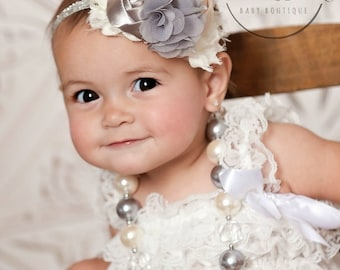 Bubblegum Necklace and Baby Headband SET,Baby Headbands, Little girls Chunky Necklace, Ivory and Grey Baby Headband and Chunky necklace set.