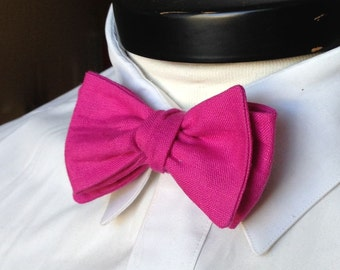 The Lennon- Our linen bowtie in bright pink